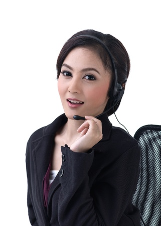 hot line: Young asian woman call with headset