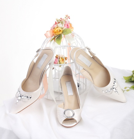 Luxury and nice shoes for the bride on wedding day photo