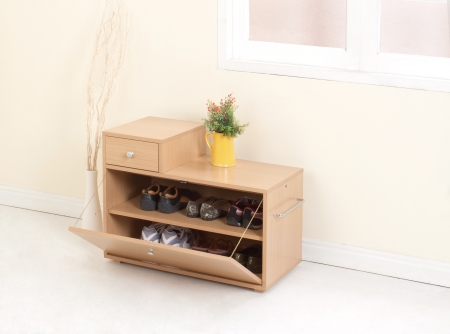 drawers: Wooden shoe closet with drawer