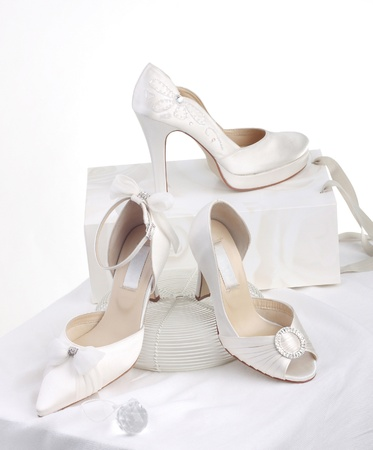 The choice of beautiful bride's shoes for beautiful bride Stock Photo - 17241290