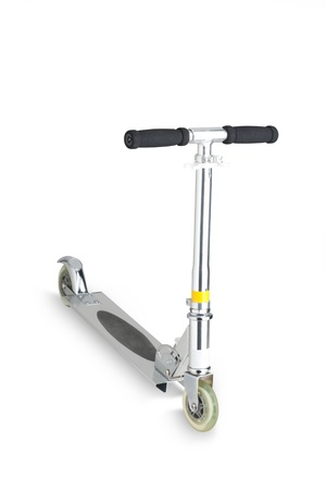 A metal scooter for child on white background photo