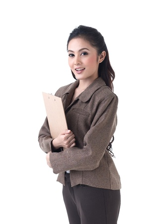 good looking woman: Asian business woman holding a clipboard