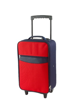 carryall: Red and blue luggage with two wheels Stock Photo