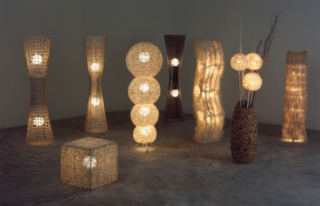 rattan: A lot of lighten floor lamps which made of rattan, bamboo and dried water hyacinth in the dark room
