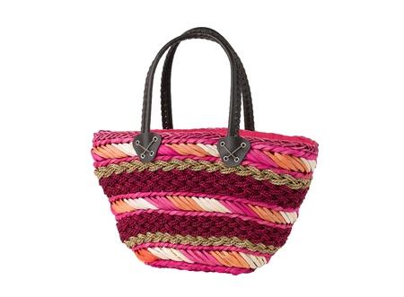 water hyacinth: Colorful weaved dried water hyacinth lady handbag Stock Photo