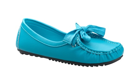 leather woman: A beautiful and comfortable blue leather woman shoe