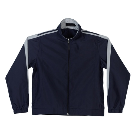 Dark blue sport jacket with blank front for putting text on it photo