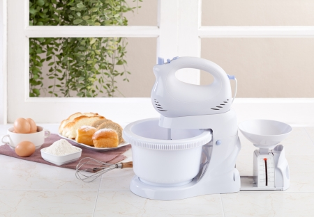 food processor: Electric mixer machine with weight scale for bake your bread or dessert
