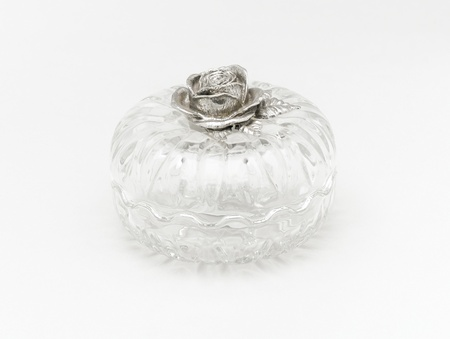 pewter: Multi purpose glass box; for keeping jewelry, coins or candy Stock Photo