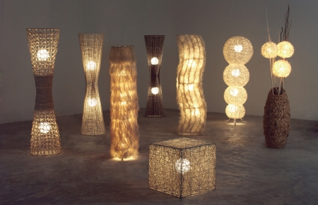 lighten: A lot of lighten floor lamps which made of rattan, bamboo and dried water hyacinth in the dark room