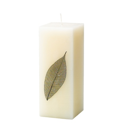 Beautiful handmade candle designed by put a leaf inside good for home and spa photo