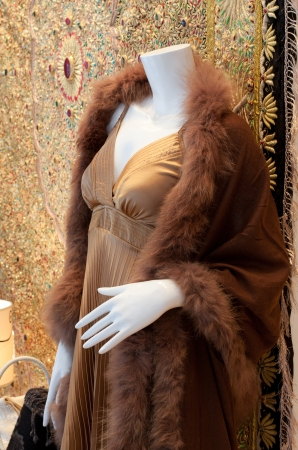 animal sexy: A luxury silk dress and women fur coat