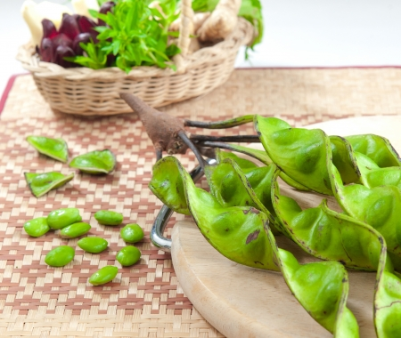 southern thailand: Stink beans herb and ingredients from nature from southern of Thailand Stock Photo