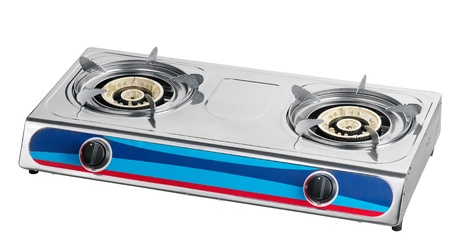 gas stove:  A metal gas stove for the kitchen Stock Photo