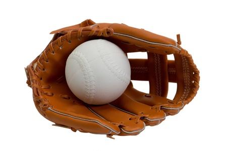guante de beisbol: Un cuero nuevo guante de béisbol y bola blanca Foto de archivo