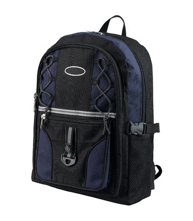 A canvas backpack with compass for student or adventure photo