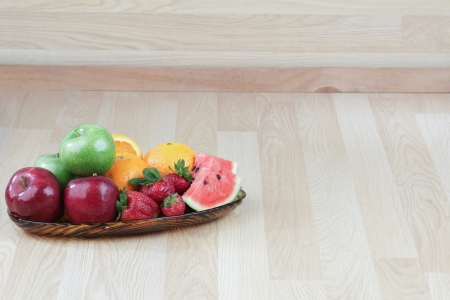 Empty background in kitchen with fruits tray photo