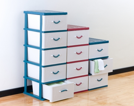 Stacks of plastic drawers for home or office using Archivio Fotografico