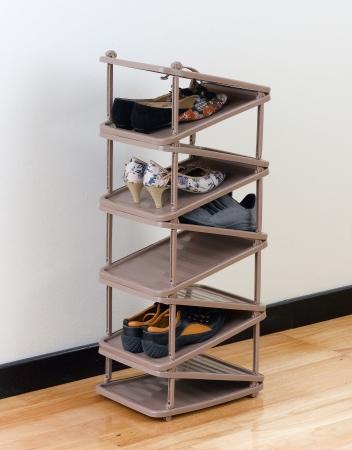 walk in closet: A modern designed of fold able plastic shoe shelf