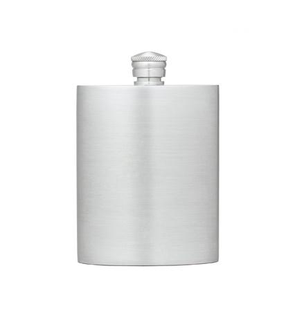 botella de licor: Matraz de estaño exterior para agua o alcohol Foto de archivo