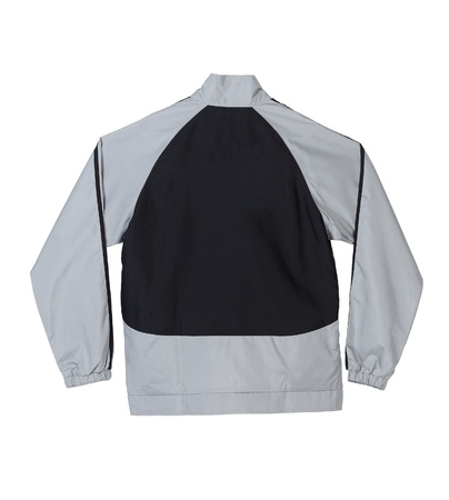 Gray and black sport jacket with blank back for putting text on it photo
