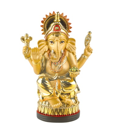 Golden hindu god ganesh photo