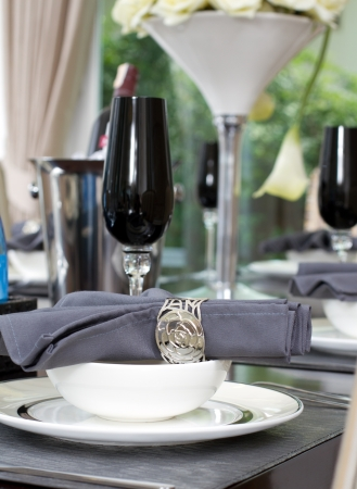 Dinner table setting with wine and luxury wine glasses Stock Photo - 18514850