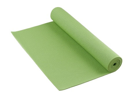 green yoga mat nice for exercise at home or gym