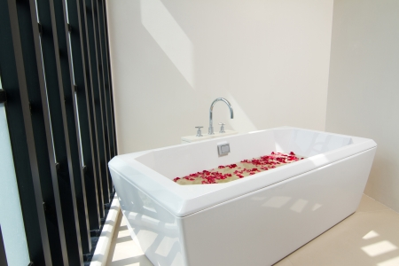 Luxury bath tub with water and flowers Stock Photo - 18568262