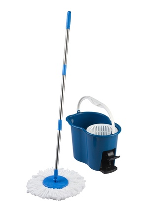 houseclean: cleaning mop and blue bucket isolated on white background Stock Photo