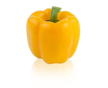 capsicums: Sweet yellow pepper isolated on white background