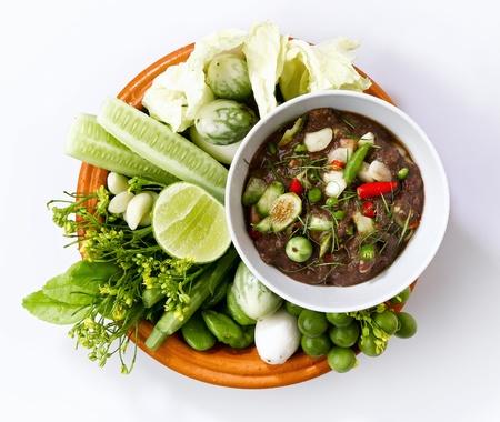 nam: Thai food, shrimp paste spicy sauce with fresh vegetables