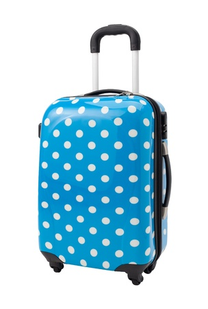 A cute luggage  with three handle and four wheels photo