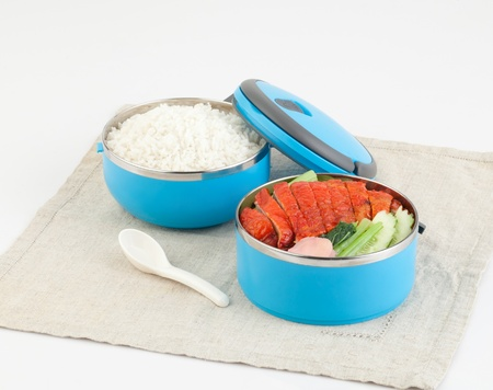 Cute tiffin carrier with rice and roasted duck