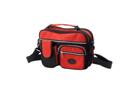 A small red canvas handbag for lady photo