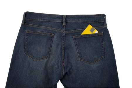 back side of blue jeans with credit card in a pocket photo