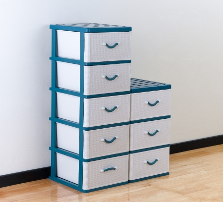 Stacks of plastic drawers for home or office using Banque d'images
