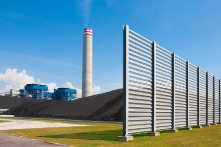 The wall that protection dust from the charcoal in safety prevention in the power plant photo