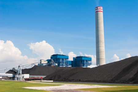 The electric generator power plant behind the mass of charcoal in a green site photo
