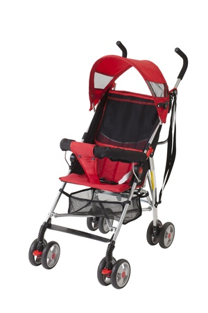 A cute red baby pram isolated on white background