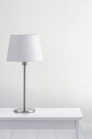 lamp: lamp on the table with white wall background