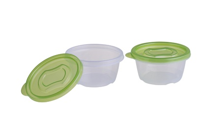 plastic boxes with green lids for food storage Stock Photo - 20994632