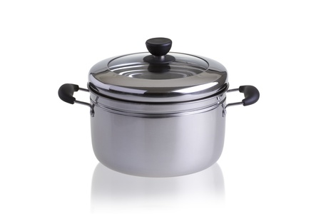 cooking pot: Stainless steel pot with cover isolated on white background Stock Photo