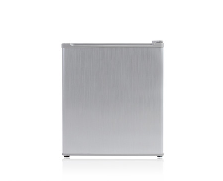 Small gray refrigerator isolated on white background photo
