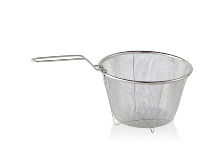 bolter: Kitchen sieve for frying food isolated on white Stock Photo