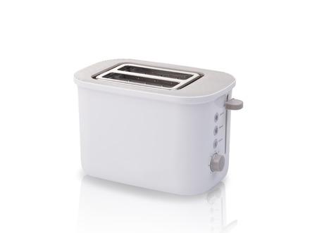 white bread toaster isolated on white background photo