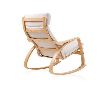 modern rocking chair on the back side isolated on white background