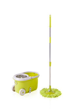 water wheel: Green cleaning mop and bucket isolated on white background