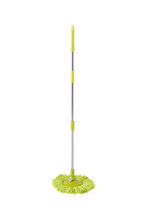 houseclean: Green cleaning mop isolated on white background