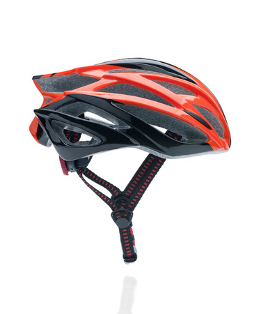 x country: Bicycle mountain bike safety helmet isolated on white